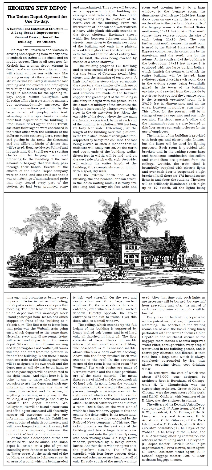 Newspaper article about newly opened Depot, 1891